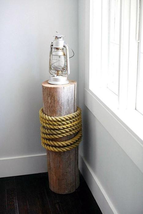 Nautical Wood Log With Rope Cheap Man Cave Ideas For Men