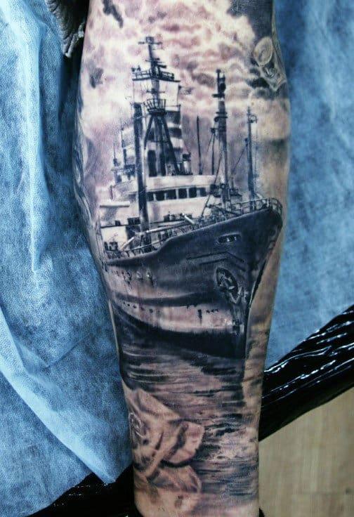 Naval Warfare Reaslitic Mens Navy Sleeve Tattoo