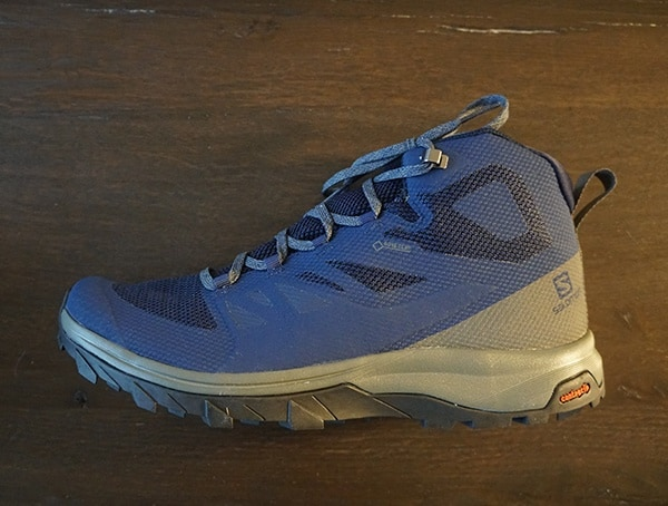 Navy And Grey Mens Salomon Outline Mid Gtx Shoes Side
