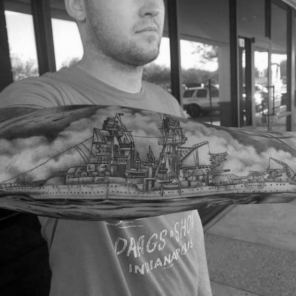 Navy Battleship Guys Ww2 Outer Forearm Tattoos