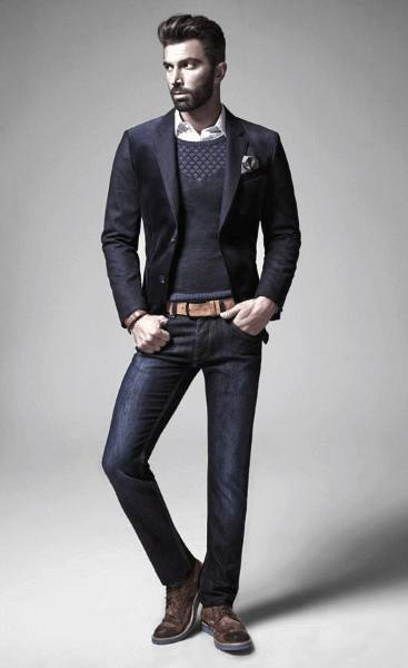 Navy Blazer With Jeans Casual Wear Outfits For Men