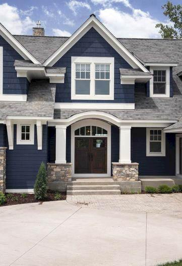 Navy Blue And White Unique House Paint Home Ideas