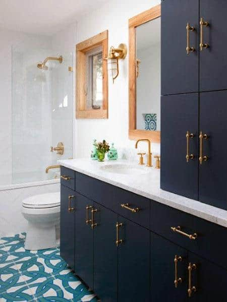 Navy Blue Bathroom Vanity Design Inspiration