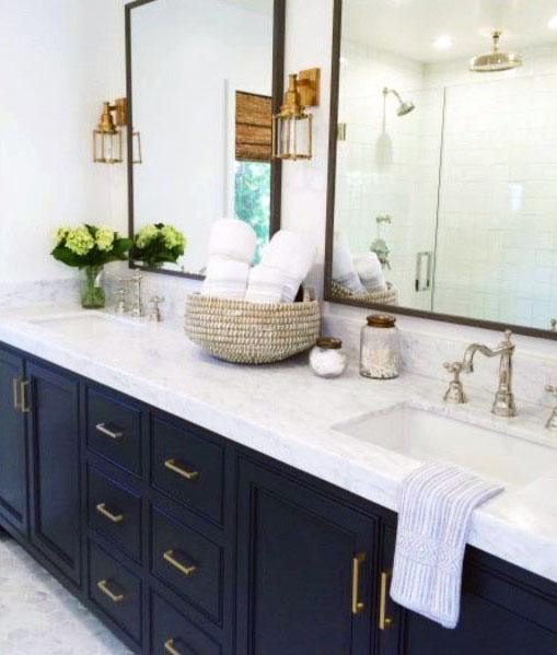 Navy Blue Bathroom Vanity Ideas With White Countertops And Walls