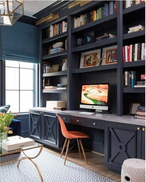 Navy Blue Bookcase Built In Desk Ideas