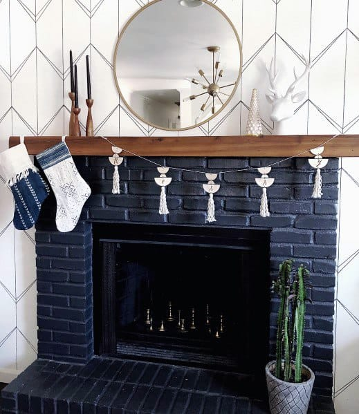 Navy Blue Brick Painted Fireplace