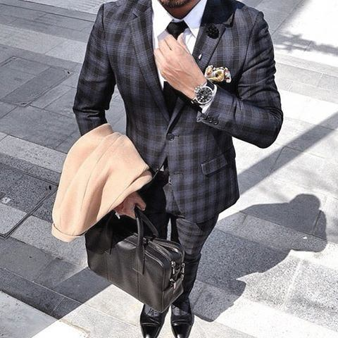 Navy Blue Checkered Suit Black Shoes Style For Men