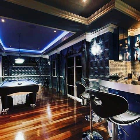 Navy Blue Decor Basement Man Cave