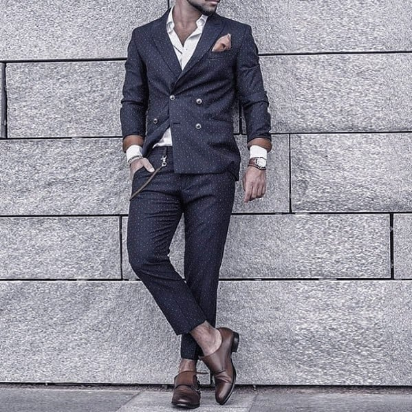 Navy Blue Double Breasted Suit Brown Shoes Style For Men