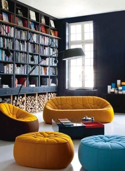 Navy Blue Floor To Ceiling Bookshelves Ideas With Firewood Storage At Bottom