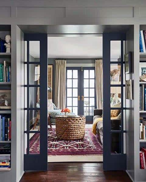 Navy Blue Glass Ideas For Home Pocket Door
