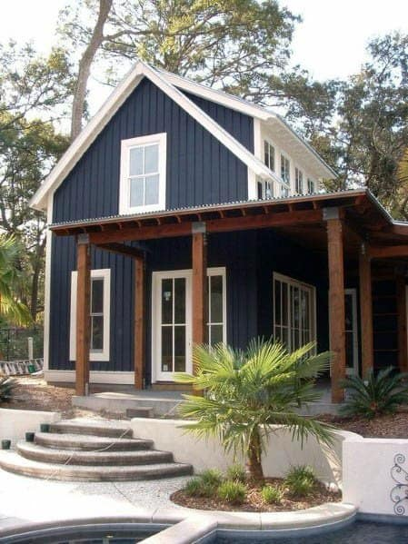 Navy Blue House Siding Traditional Rustic Look