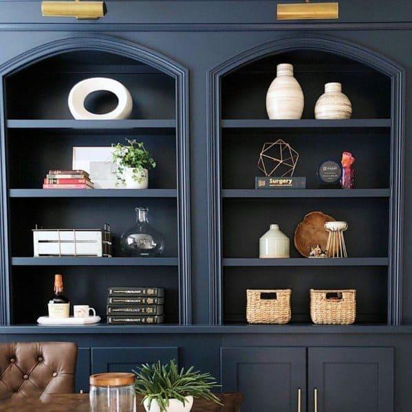 Navy Blue Interior Built In Bookcase Design Office