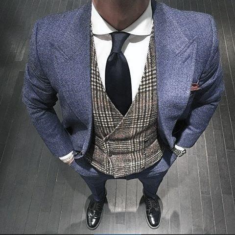 Navy Blue Peak Lapel Suit Grey Vest Black Shoes Style Looks For Men
