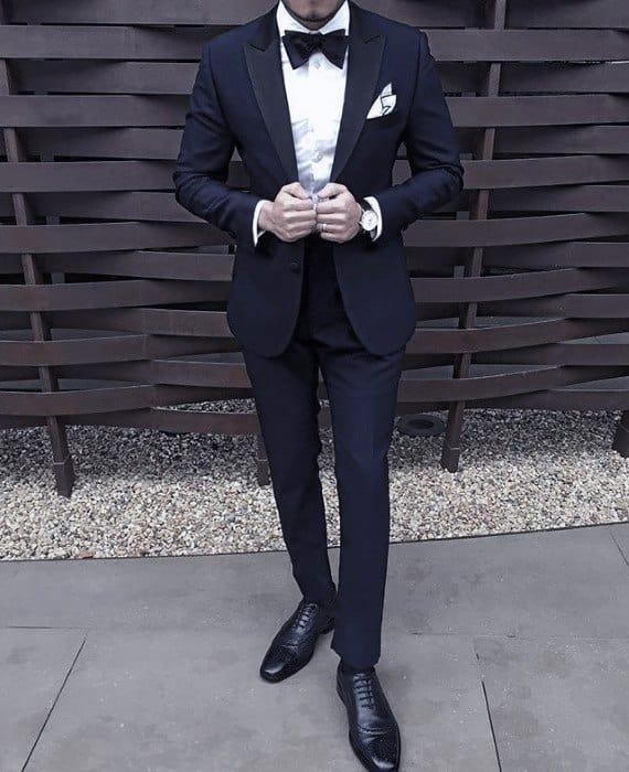 Navy Blue Suit Black Shoes Formal Tuxedo Styles For Gentlemen
