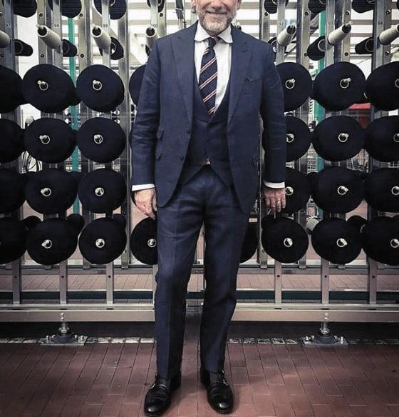 Navy Blue Suit Black Shoes Male Style