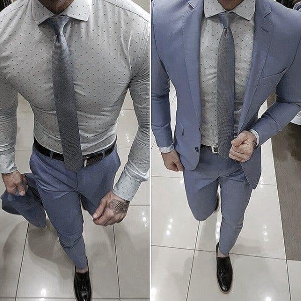 Navy Blue Suit Black Shoes Outfits For Men