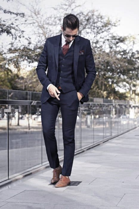 Navy Blue Suit Brown Shoes Guys Clothing Styles