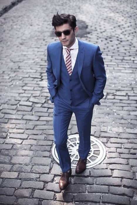 Navy Blue Suit Brown Shoes Male Fashion