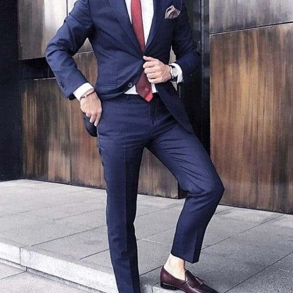 Navy Blue Suit Brown Shoes Male Style