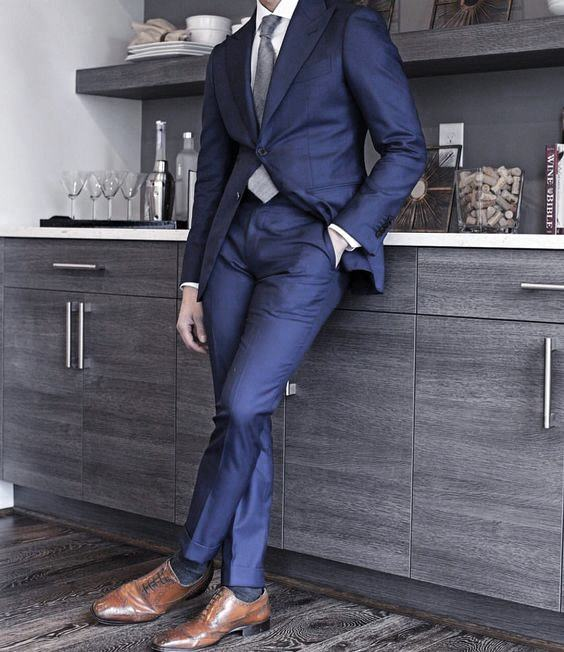Navy Blue Suit Brown Shoes Mens Outfits