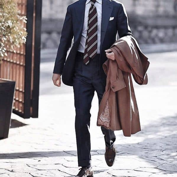 Navy Blue Suit Brown Shoes Striped Tie Style Ideas For Guys