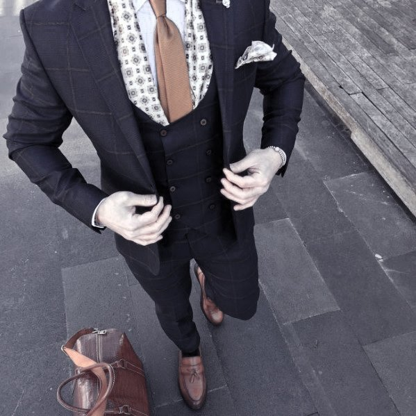 Navy Blue Suit Brown Shoes Styles For Gentlemen