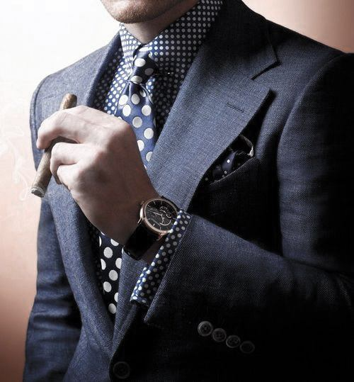 Navy Blue Suit Outfits For Men With Large Polka Dot Tie