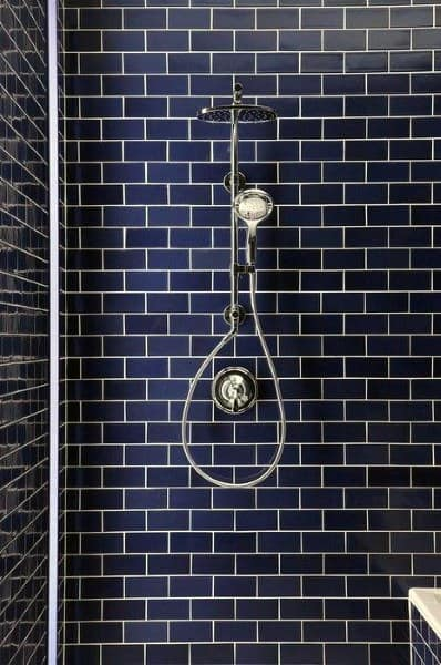 Navy Blue Tile Shower Ideas For Small Bathrooms