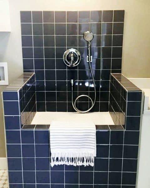 Navy Blue Tiles Dog Washing Station For Home