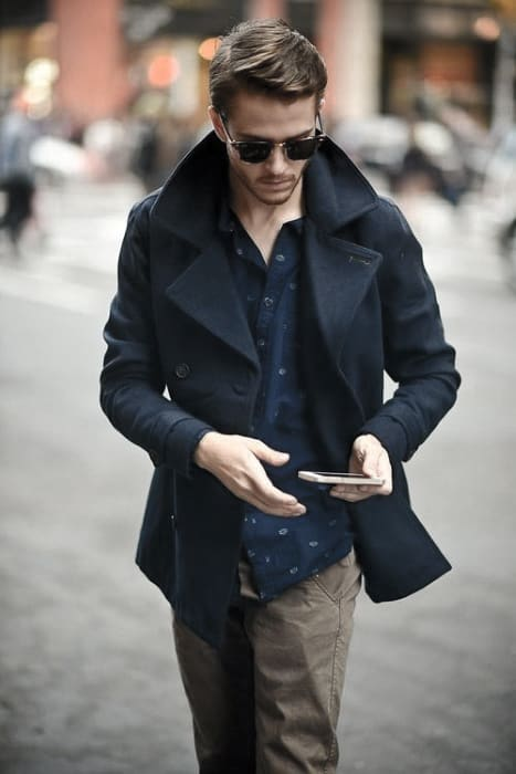 Navy Coat With Pattern Shirt Guy Winter Outfits Style