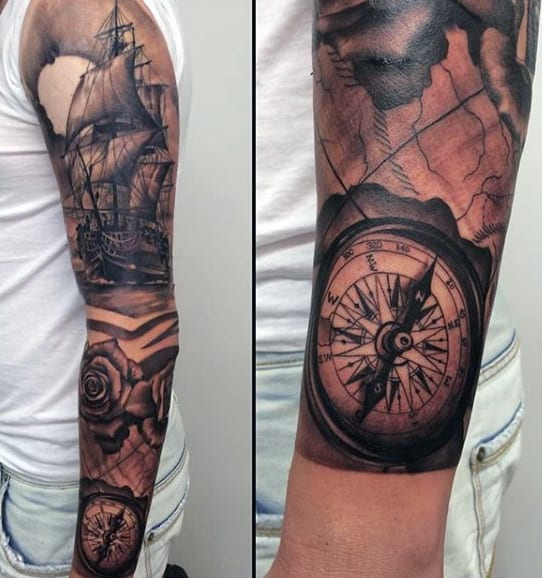 Navy Compass Tattoo For Men