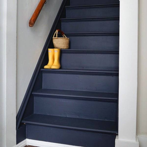Navy Exceptional Painted Stairs Ideas
