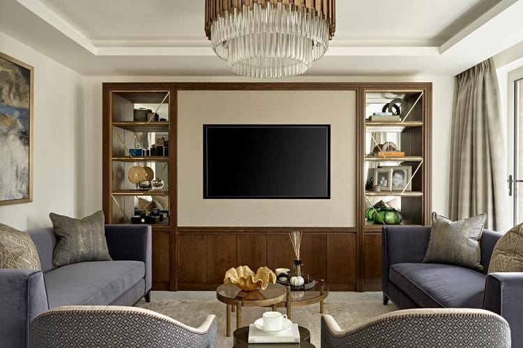 Navy Gold Built In Entertainment Center