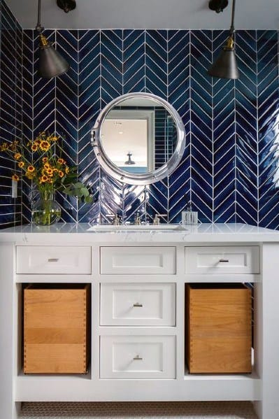 Navy Herringbone Tile Bathroom Backsplash Design Inspiration