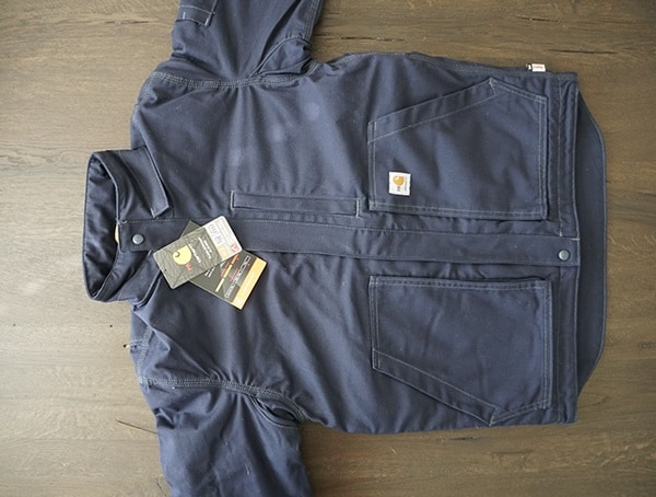Navy Mens Fire Resistant Full Swing Quick Duck Lanyard Access Jacket Front