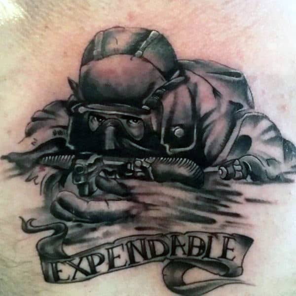 Navy Seal Mens Upper Chest Tattoos