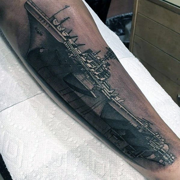 Navy Ship Different Mens Realistic Forearm Tattoo