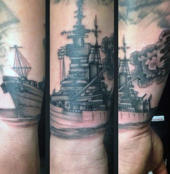 Navy Ship Firing Cannon Mens Wrist Tattoos