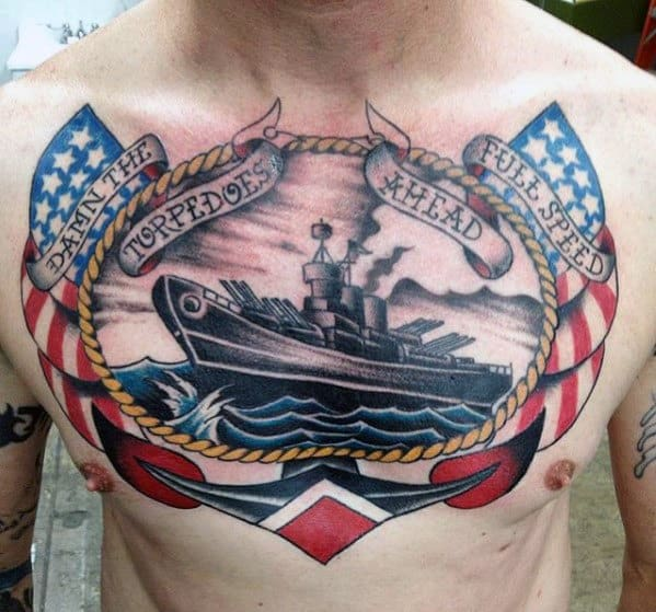 Navy Ship Guys Anchor Chest Tattoo With Traditional Design