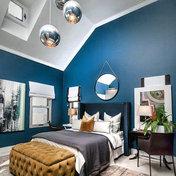 Top 50 Best Navy Blue Bedroom Design Ideas - Calming Wall ...