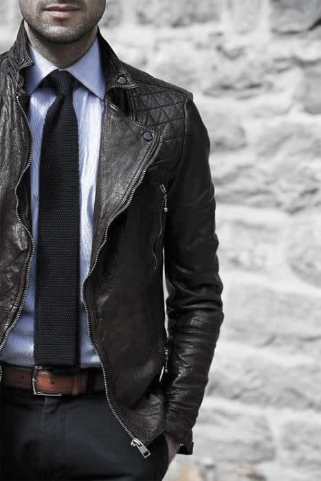 Navy Tie With Light Blue Dress Shirt Male Style How To Wear A Leather Jacket Brown Leather Jacket Outfits