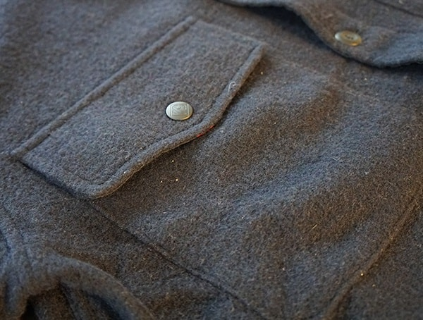 Navy Topo Designs Wool Shirt For Men With Chest Pockets