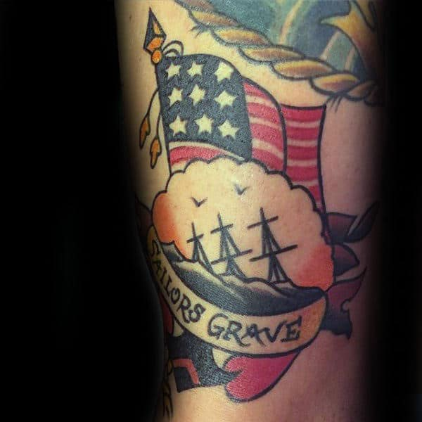 Navy Tribute Sailors Grave Mens Arm Tattoo