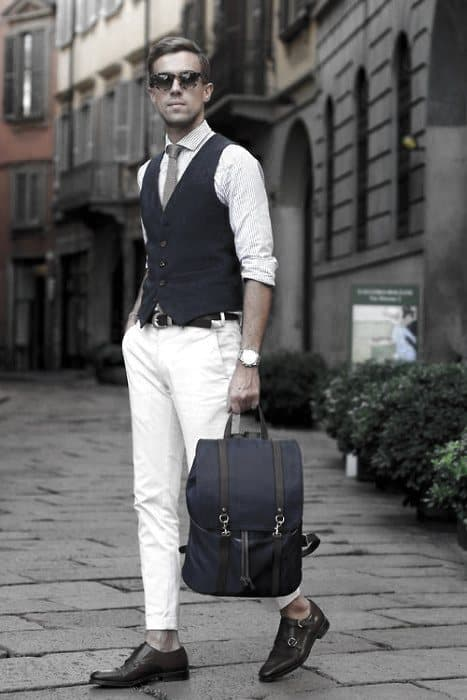 Navy Vest With Tie What To Wear With White Jeans Outfits Outfits For Men