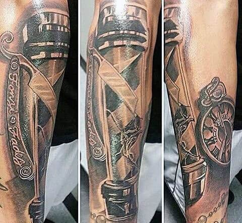 Neat Barbershop Pole Tattoo For Men On Arm
