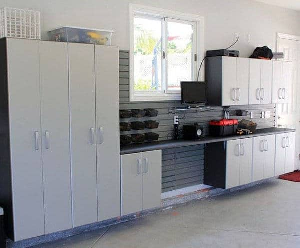 Neat Garage Storage Ideas With Custom Cabinets On Wall