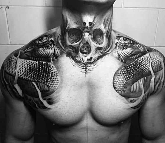 Neck And Shoulder Snake Skull Coolest Tattoos For Men