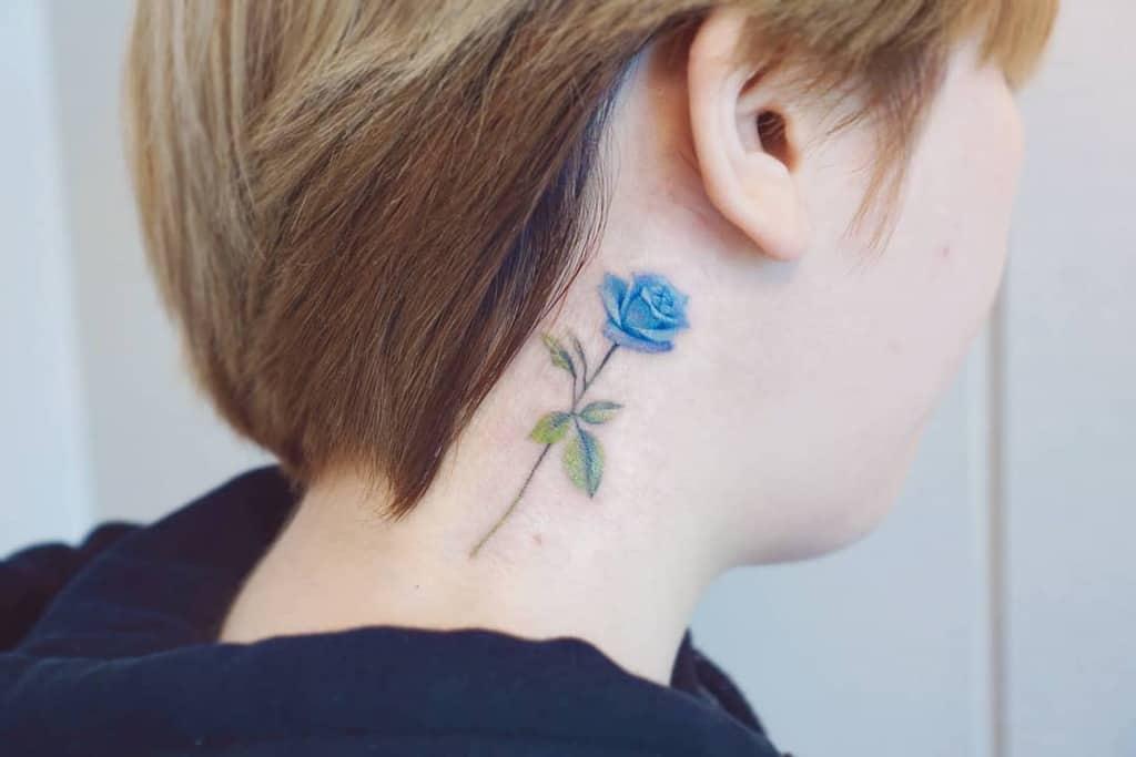 neck blue rose tattoos mj_tattooer