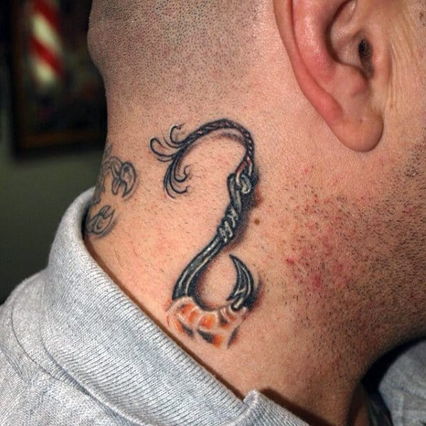 Neck Fish Hook Tattoo Design For Guys